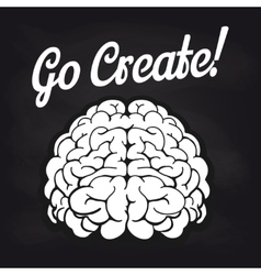 Blackboard poster with brain and lettering vector image