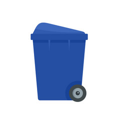 Blue garbage box icon flat style vector