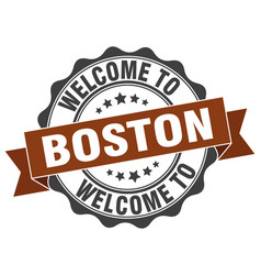 Boston round ribbon seal vector