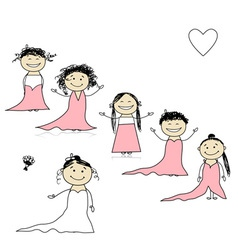 Bride with bridesmaids for your design vector image