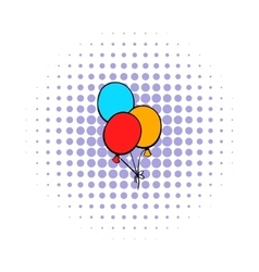 Bunch of colored baloons icon comics style vector image