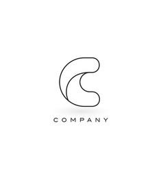 C monogram letter logo with thin black monogram vector