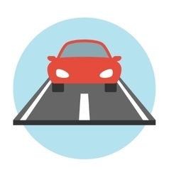 Car on the road icon flat vector