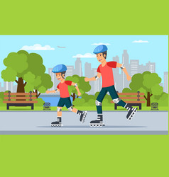 cartoon dad and son riding rollers in park vector image