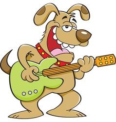 Cartoon dog playing a guitar vector