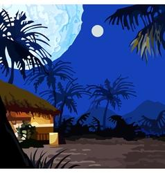 Cartoon fairy moonlit night in the tropics vector