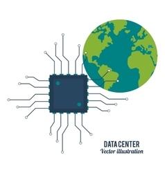Circuit board and planet icon Data center design vector