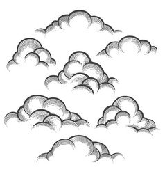 clouds engraving set vector image