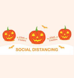 Coronavirus social distancing halloween banner vector
