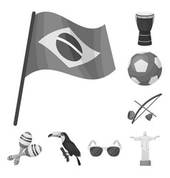 Country brazil monochrome icons in set collection vector