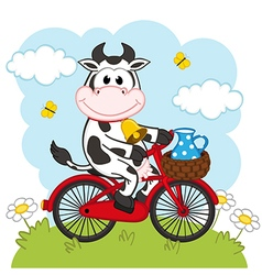 Cow riding bicycle with milk vector