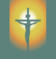 Cross with crucified jesus christ in sunset vector