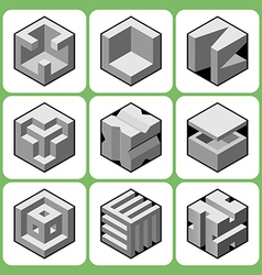 Cube icon set 3 vector
