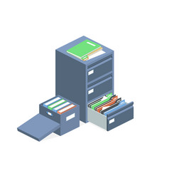 Documents cabinet files archive storage box vector