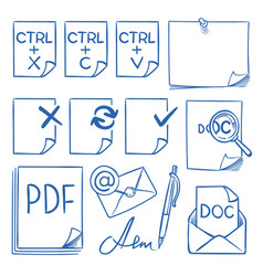 Doodle office paper icons with function vector