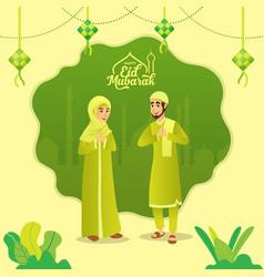 Eid mubarak greeting card cartoon muslim couple vector