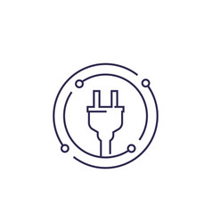 Electricity line icon with electric plug vector