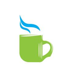 emblem of green mug with steam vector image