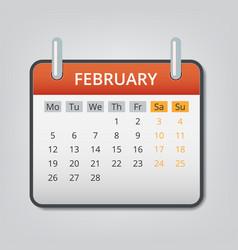 february 2018 calendar concept background cartoon vector image