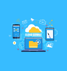 Flat banner cloud service on blue background vector