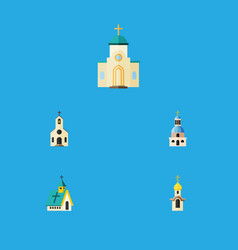 Flat icon church set of church structure vector
