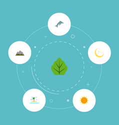 Flat icons playful fish landscape night vector