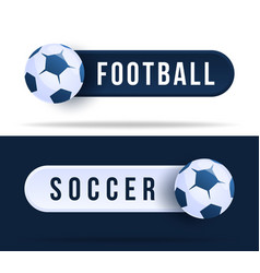 football or soccer toggle switch buttons vector image