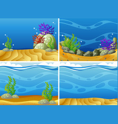 Four scenes plants under the sea vector
