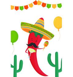 Funny chili pepper in a sombrero with margarita vector
