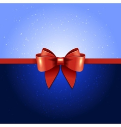 Greeting card with red bow vector image