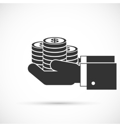 Hands holding coins vector