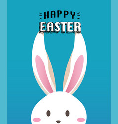 happy easter day with white easter rabbit vector image