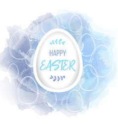 happy easter lettering on white paper egg vector image