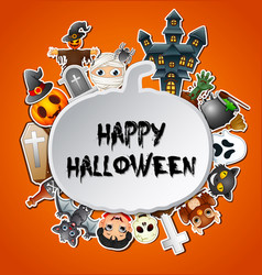 Happy halloween card celebrations pumpkins silhout vector