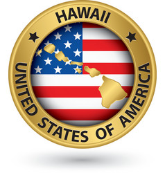 Hawaii state gold label with state map vector image