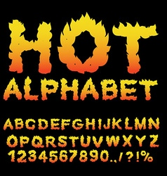 Hot Alphabet Flame font Fiery letters Burning ABC vector image