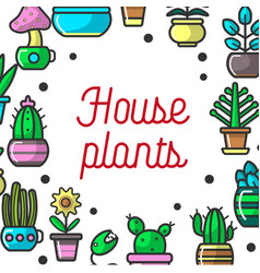 House plants or cartoon exotic flowers vector