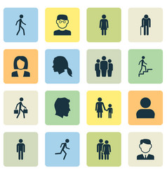 Human icons set collection of beloveds male vector