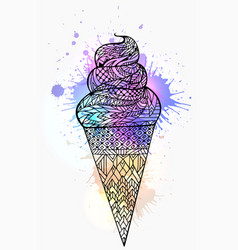 Ice cream cone with boho pattern and watercolor vector