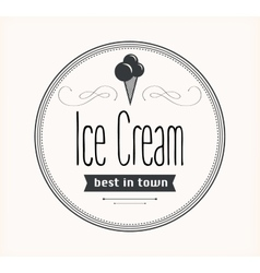 Ice cream vintage retro label vector image
