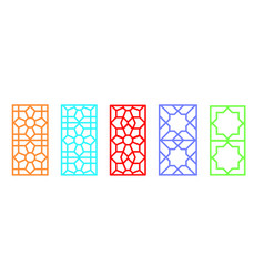 Indian rectangle window frame with islamic pattern vector