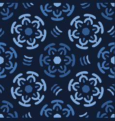 Indigo blue abstract circle flowers vector