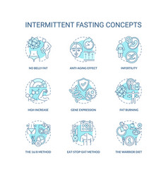 Intermittent fasting blue concept icons set vector