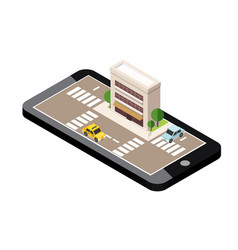 isometric city mobile geo tracking map city vector image