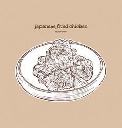 Japanese foodkaraagefried chicken japanese vector