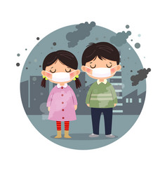 kids wearing masks against smog in city vector image