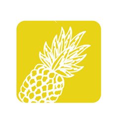 Label delicious pineapple tropic fruits vector