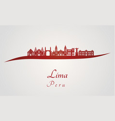 Lima skyline in red vector