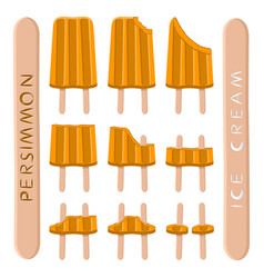 Logo for natural persimmon ice cream vector