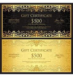 Luxury golden gift certificate in vintage style vector